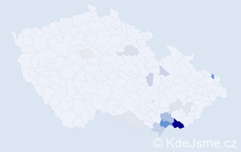 Příjmení: 'Chudíčková', počet výskytů 44 v celé ČR
