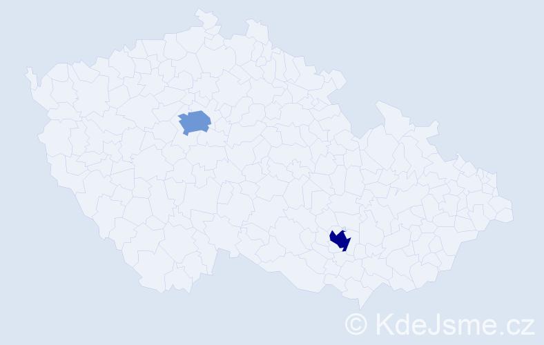 Příjmení: 'Čejović', počet výskytů 2 v celé ČR