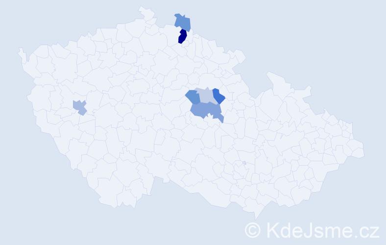 Příjmení: 'Chutic', počet výskytů 14 v celé ČR