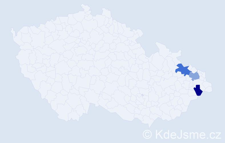 Příjmení: 'Jesionková', počet výskytů 5 v celé ČR