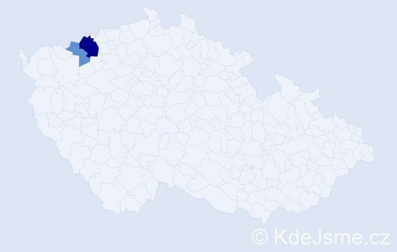 Příjmení: 'Lausmanová', počet výskytů 5 v celé ČR