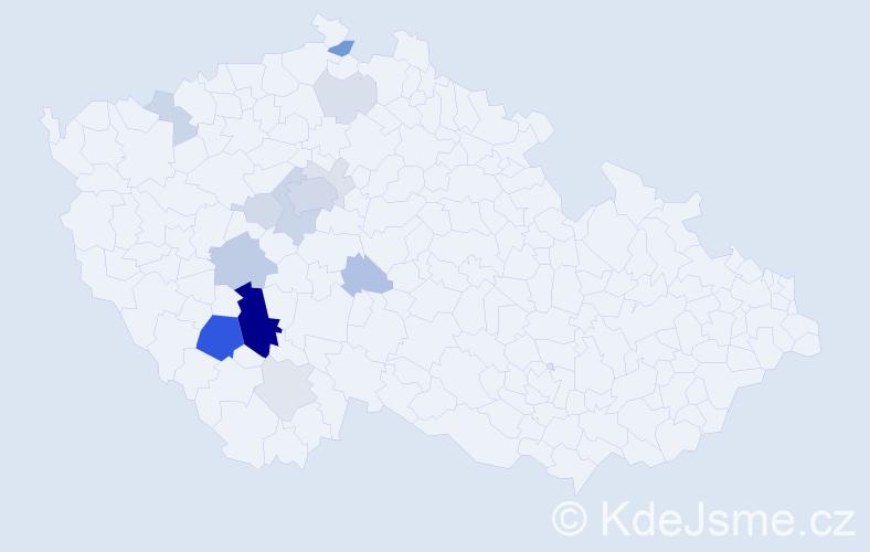 Příjmení: 'Čuřín', počet výskytů 48 v celé ČR