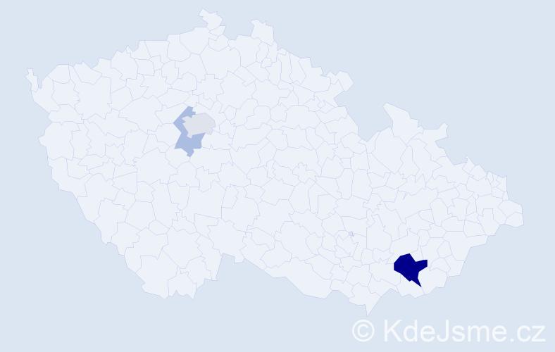 Příjmení: 'Blažon', počet výskytů 9 v celé ČR