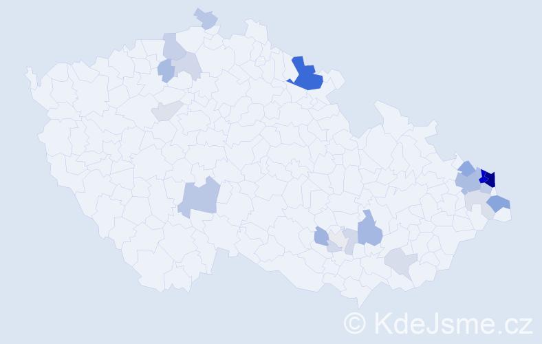 Příjmení: 'Dadok', počet výskytů 66 v celé ČR