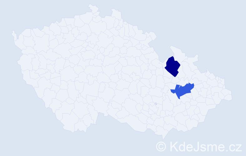 Příjmení: 'Bačikgerka', počet výskytů 4 v celé ČR