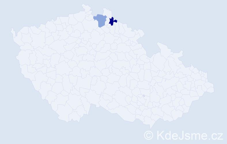 Příjmení: 'Čívrná', počet výskytů 2 v celé ČR