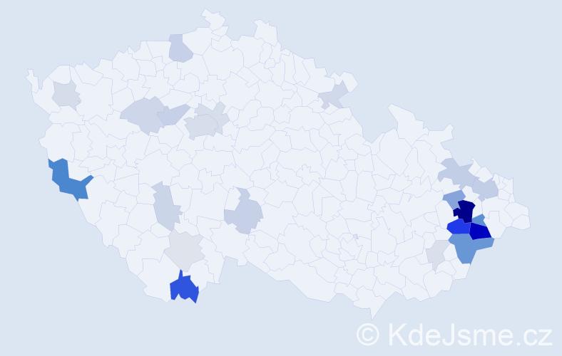 Příjmení: 'Krba', počet výskytů 72 v celé ČR
