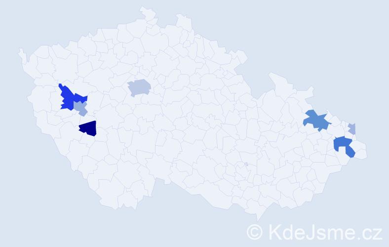 Příjmení: 'Eleková', počet výskytů 20 v celé ČR