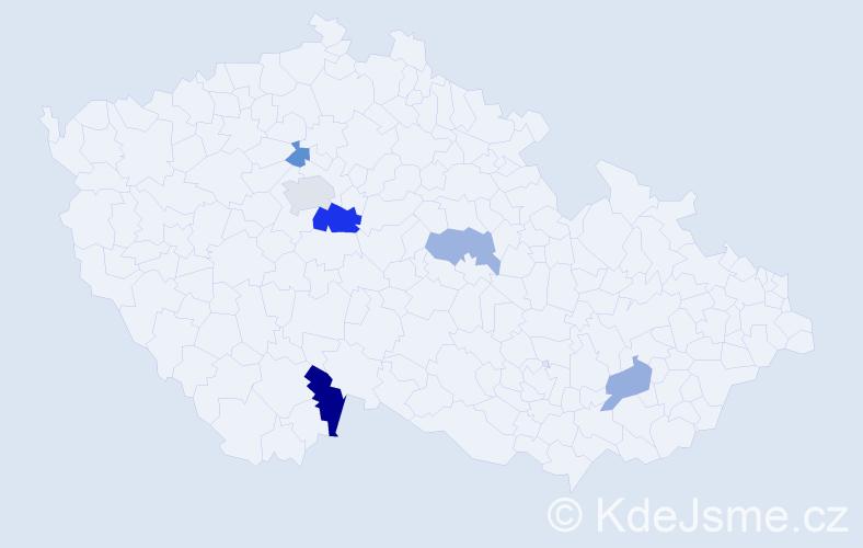 Příjmení: 'Gaučová', počet výskytů 10 v celé ČR