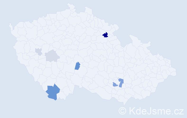 Příjmení: 'Koprdová', počet výskytů 17 v celé ČR