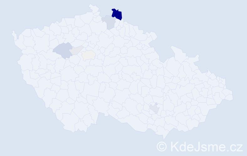 Příjmení: 'Cýrus', počet výskytů 24 v celé ČR