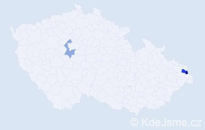 Příjmení: 'Kotajný', počet výskytů 11 v celé ČR