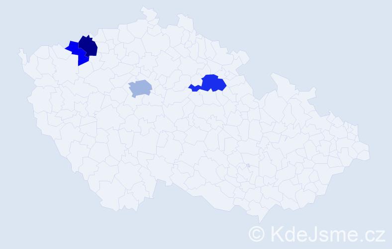 Příjmení: 'Kleinander', počet výskytů 8 v celé ČR