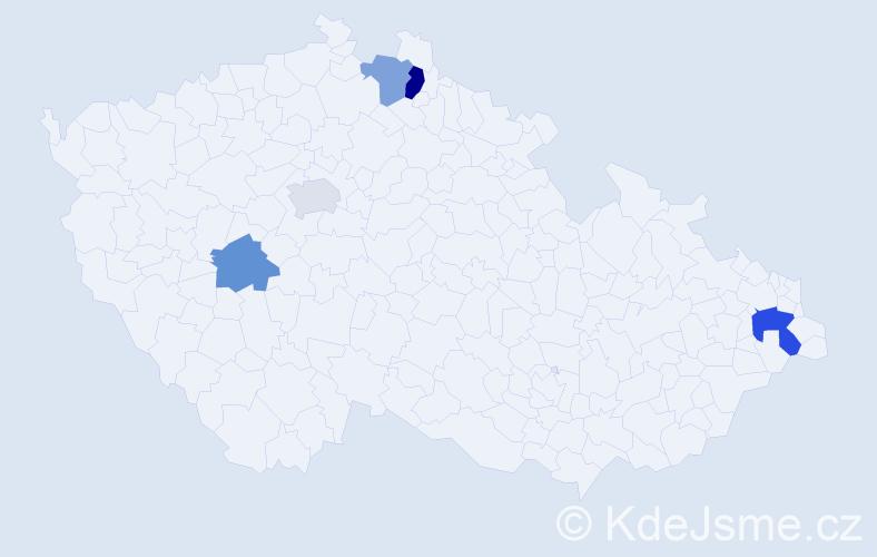 Příjmení: 'Ťahanová', počet výskytů 7 v celé ČR