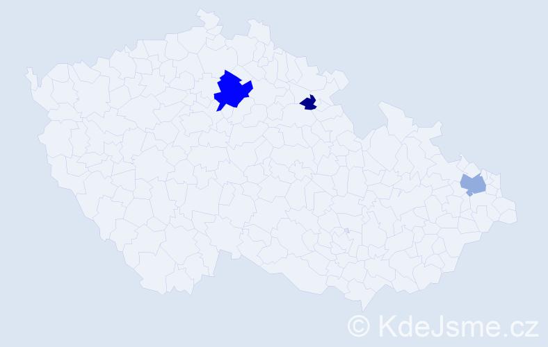 Příjmení: 'Kaczmarková', počet výskytů 13 v celé ČR