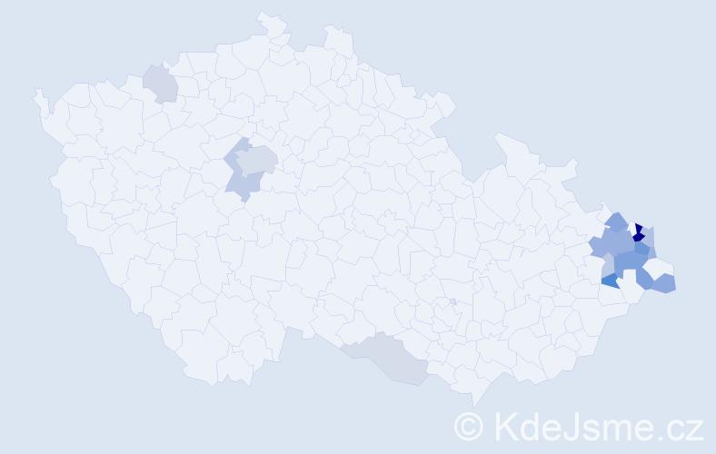 Příjmení: 'Antošík', počet výskytů 51 v celé ČR