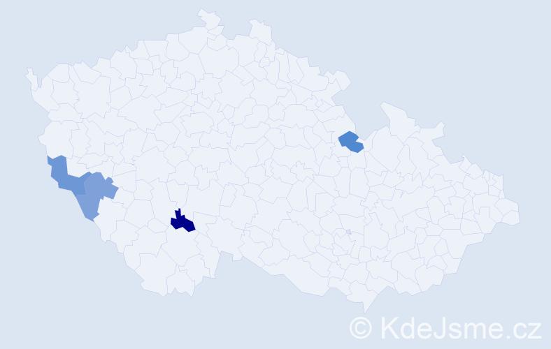 Příjmení: 'Kovářovic', počet výskytů 4 v celé ČR