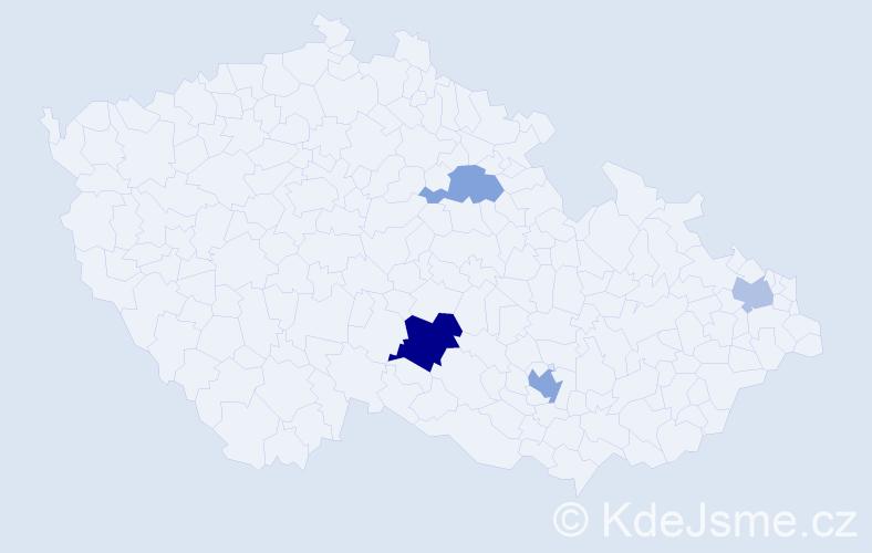 Příjmení: 'Haimann', počet výskytů 7 v celé ČR