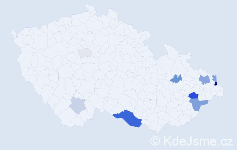 Příjmení: 'Badošek', počet výskytů 24 v celé ČR
