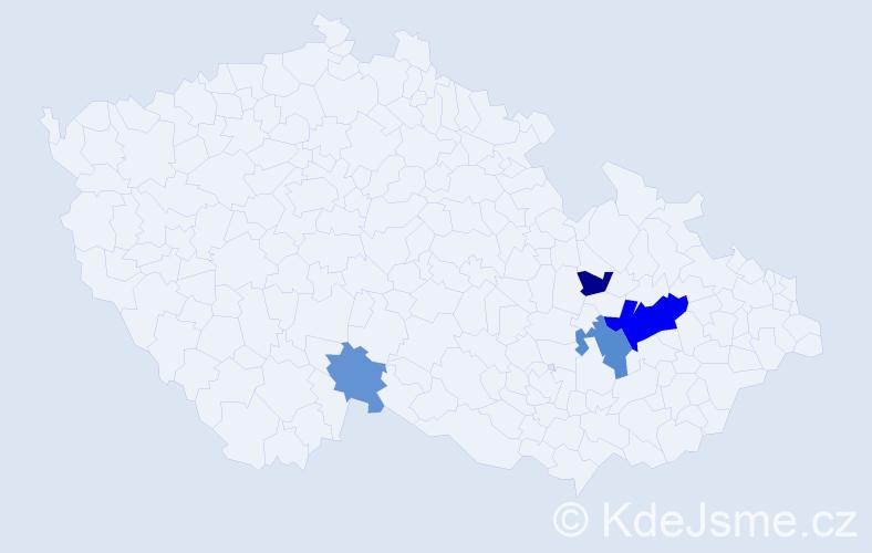 Příjmení: 'Haliř', počet výskytů 9 v celé ČR