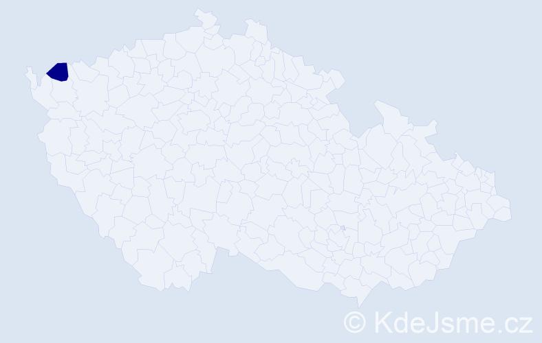 """Příjmení: '""""Hake Vališová""""', počet výskytů 1 v celé ČR"""