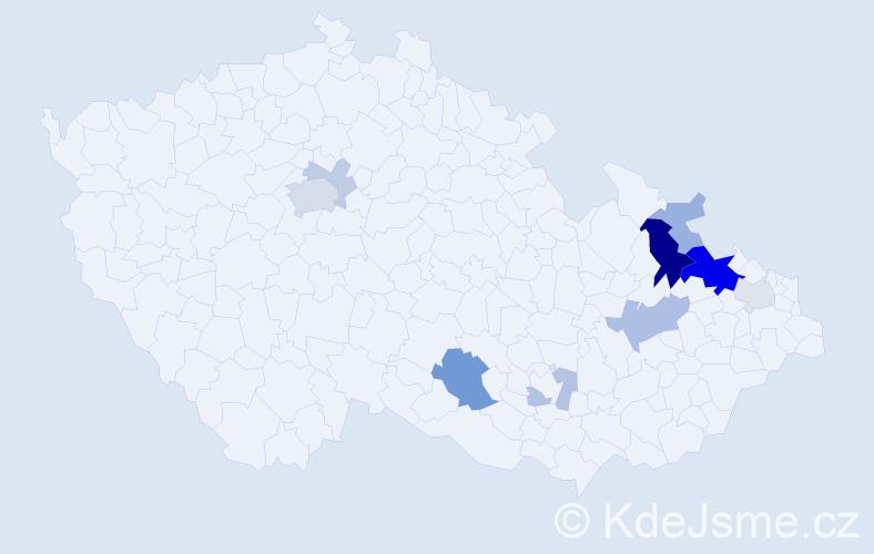 Příjmení: 'Ivanco', počet výskytů 28 v celé ČR