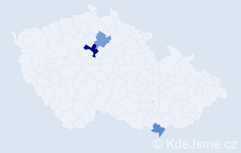 Příjmení: 'Hrubinová', počet výskytů 5 v celé ČR