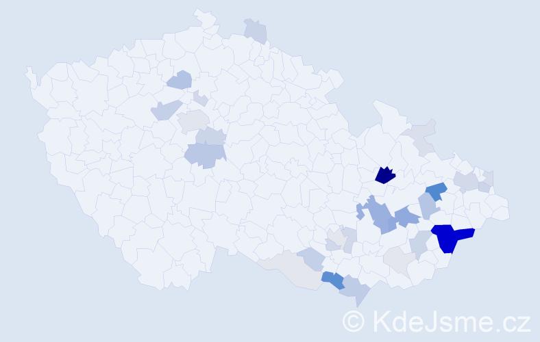 Příjmení: 'Hodulák', počet výskytů 112 v celé ČR