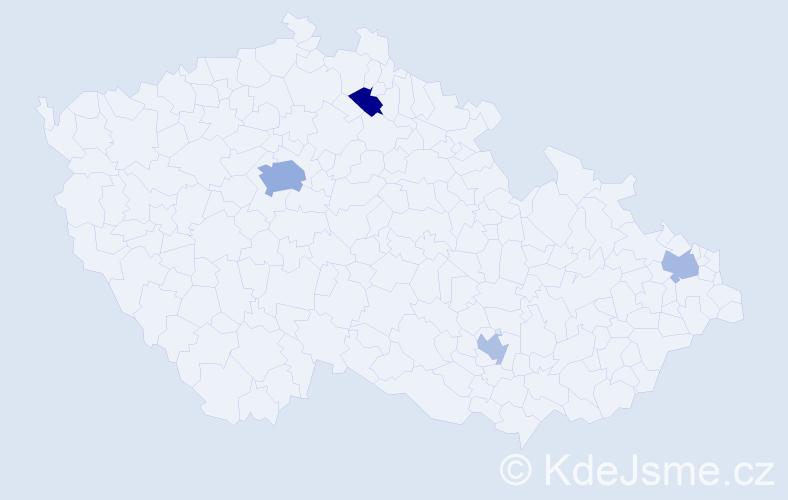 Příjmení: 'Bialeš', počet výskytů 7 v celé ČR