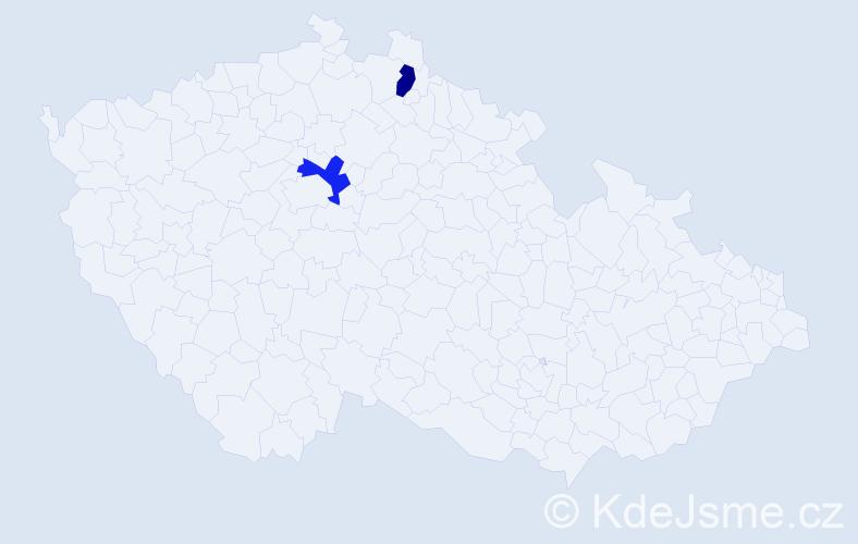 Příjmení: 'Dejanová', počet výskytů 2 v celé ČR