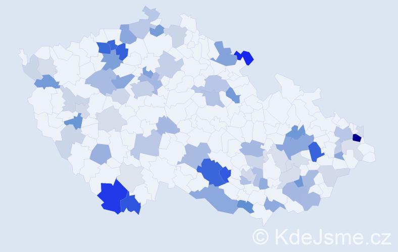 Příjmení: 'Križan', počet výskytů 196 v celé ČR
