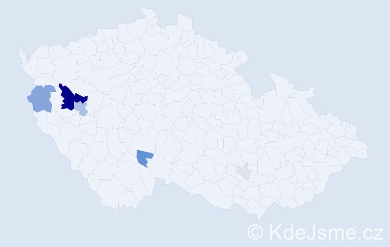 Příjmení: 'Cica', počet výskytů 11 v celé ČR