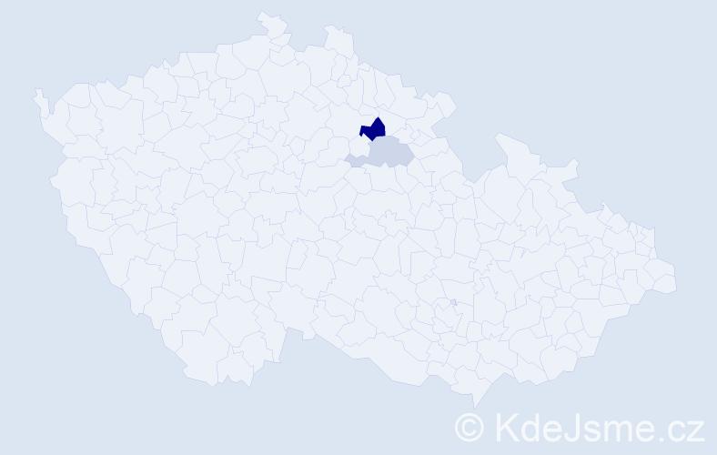 Příjmení: 'Gyuriczová', počet výskytů 7 v celé ČR