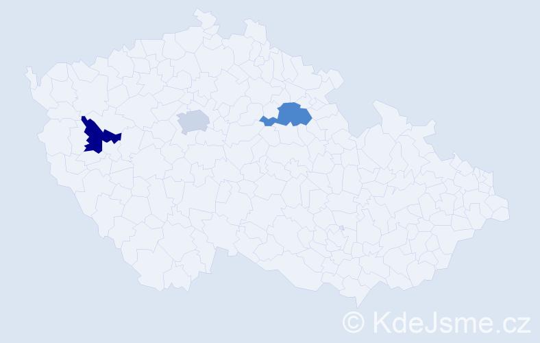 Příjmení: 'Hűbler', počet výskytů 3 v celé ČR