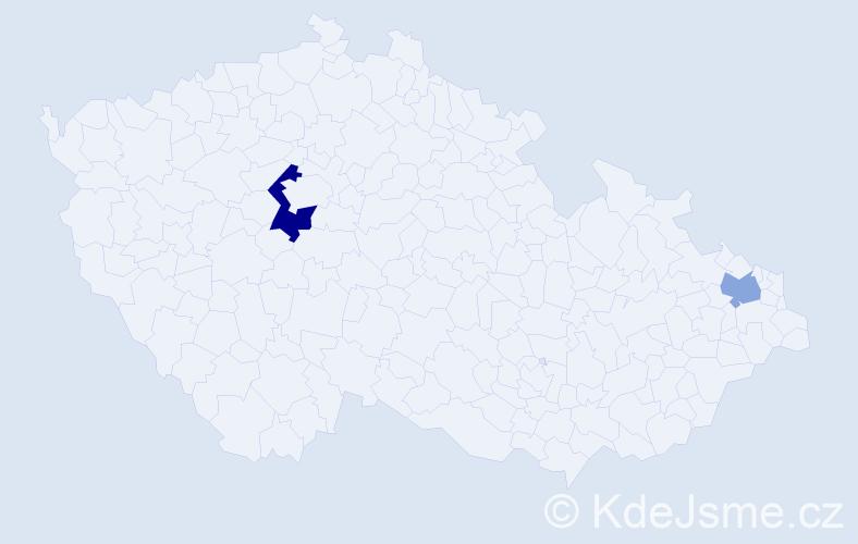 Příjmení: 'Kader', počet výskytů 3 v celé ČR