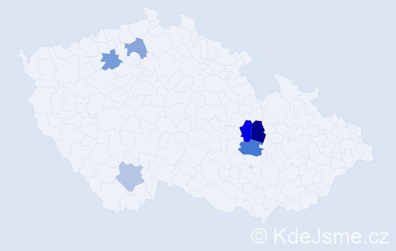 Příjmení: 'Dandašová', počet výskytů 9 v celé ČR