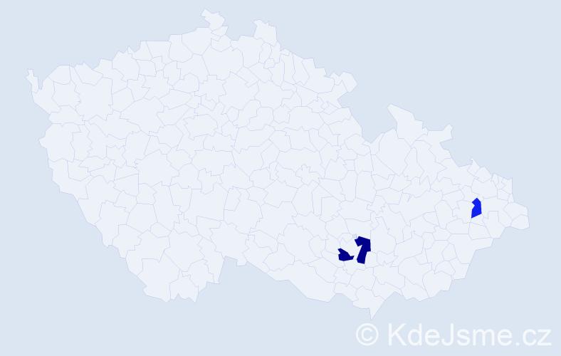 Příjmení: 'Guláková', počet výskytů 3 v celé ČR