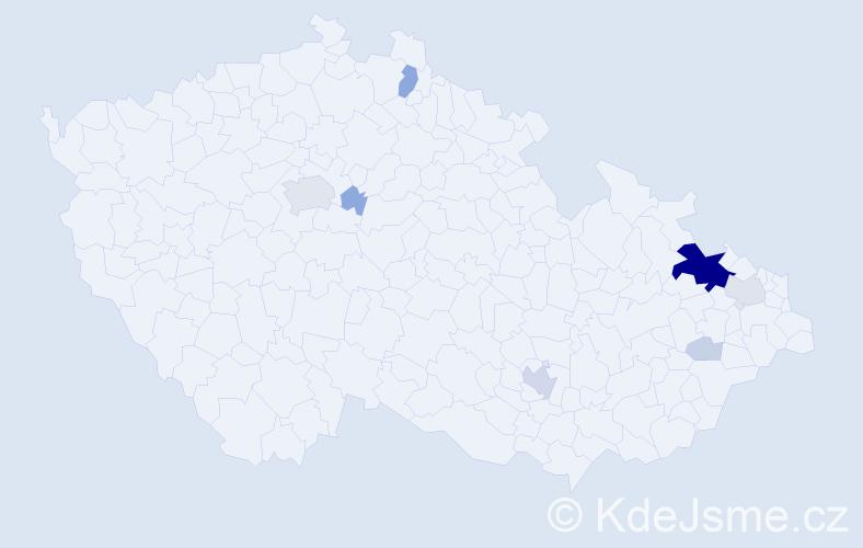 Příjmení: 'Benš', počet výskytů 39 v celé ČR