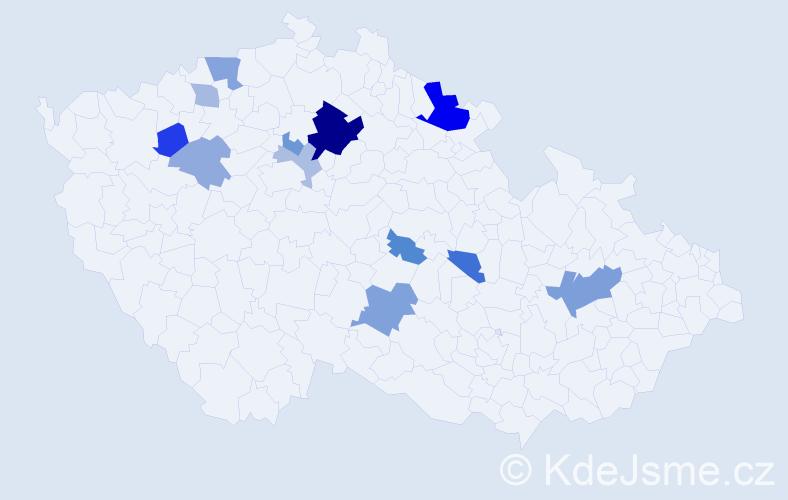 Příjmení: 'Daliborová', počet výskytů 27 v celé ČR