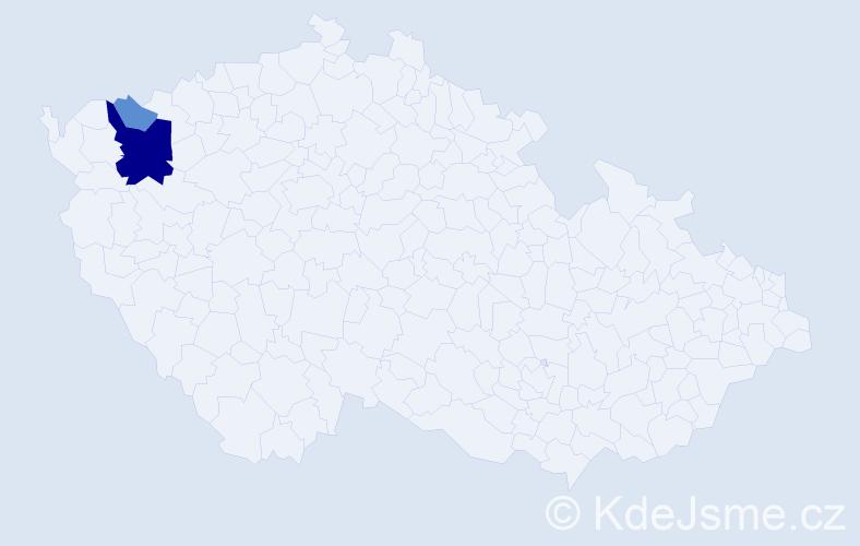 Příjmení: 'Čerjaník', počet výskytů 7 v celé ČR