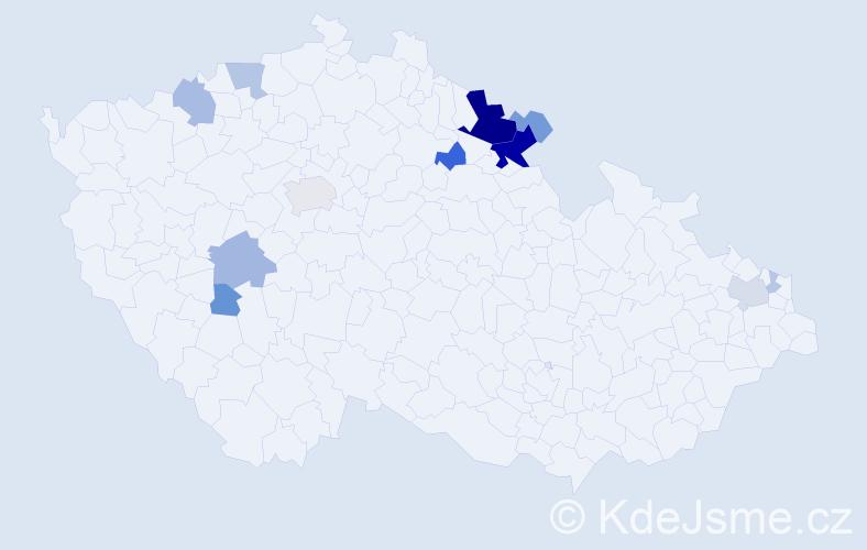 Příjmení: 'Hušo', počet výskytů 39 v celé ČR