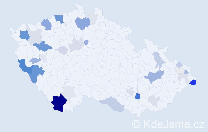 Příjmení: 'Fazekaš', počet výskytů 88 v celé ČR