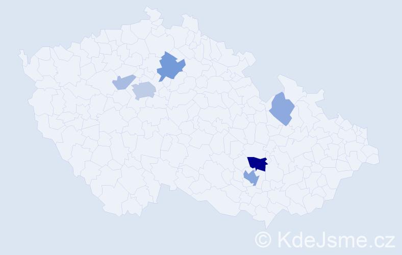 Příjmení: 'Jedla', počet výskytů 17 v celé ČR