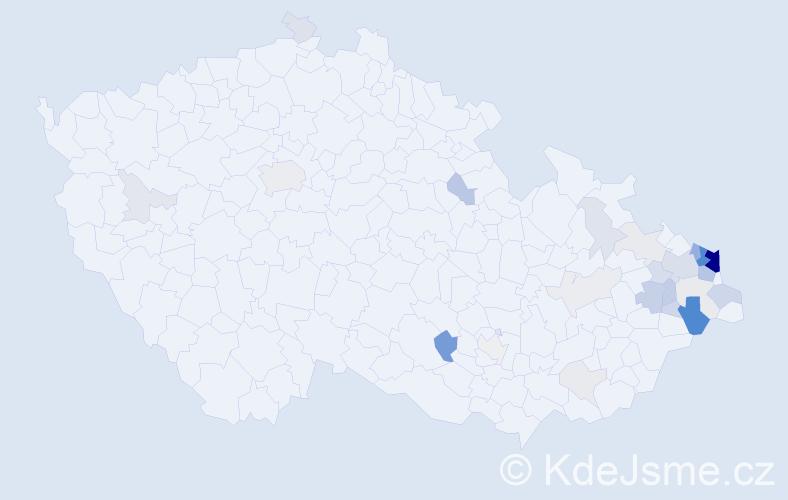 Příjmení: 'Kijonka', počet výskytů 123 v celé ČR