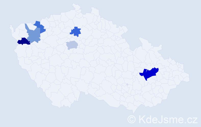 Příjmení: 'Lampar', počet výskytů 11 v celé ČR