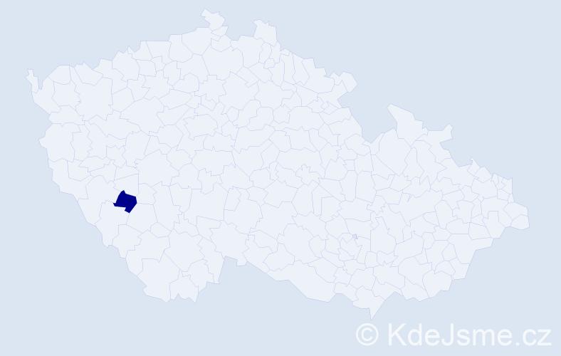"""Příjmení: '""""Coufalová Holubová""""', počet výskytů 1 v celé ČR"""