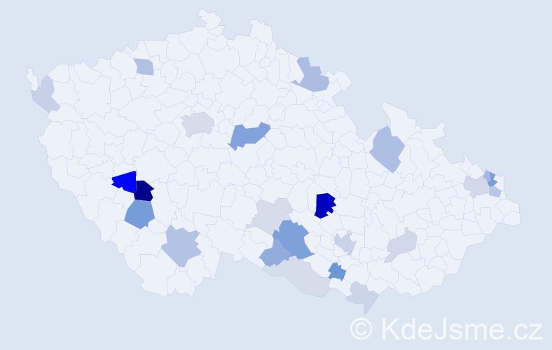 Příjmení: 'Krajčo', počet výskytů 57 v celé ČR