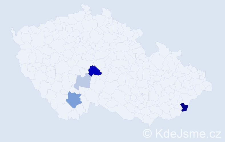 Příjmení: 'Hůdek', počet výskytů 11 v celé ČR