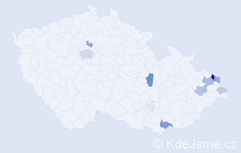 Příjmení: 'Kaizar', počet výskytů 31 v celé ČR
