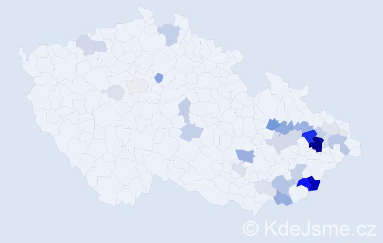 Příjmení: 'Jakůbková', počet výskytů 96 v celé ČR
